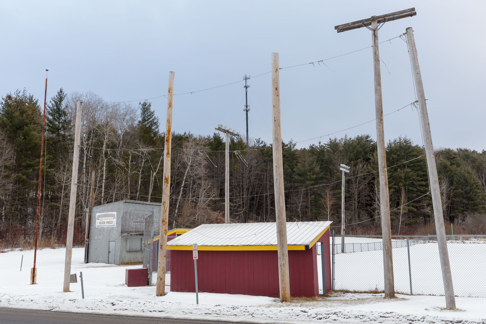 Posts Around Ball Field in Winter